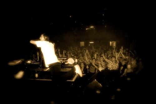 Busy P DJing at Tavastia in Helsinki, Finland. [MusicForPresident.com]